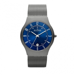 Skagen Grenen Titanium and Gray Steel-Mesh Watch