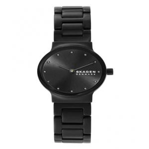 Skagen Freja Two-Hand Black Stainless Steel Watch