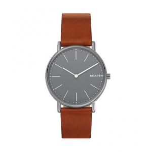 Skagen Signatur Slim Titanium and Cognac Leather Watch