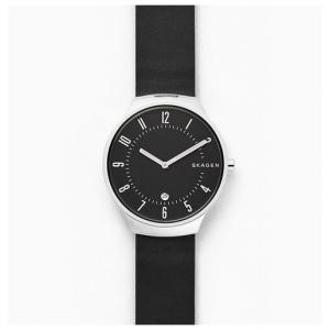 Skagen Grenen Black Leather Watch