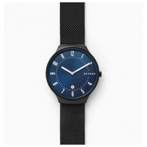 Skagen Grenen Black Steel-Mesh Watch