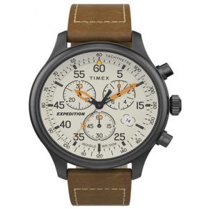 Timex Expedition Field Chronograph 43mm Leather Strap Watch